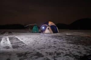 Ice Fishing at Night - Featured