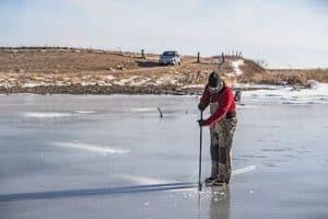 Ice fishing in North Dakota
