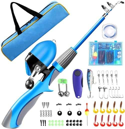 QiyuanLS Kids Fishing Pole Kit, Portable Telescopic Fishing Rod and Reel Combo