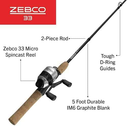 Zebco 33 Cork Spincast Reel and 2-Piece Fishing
