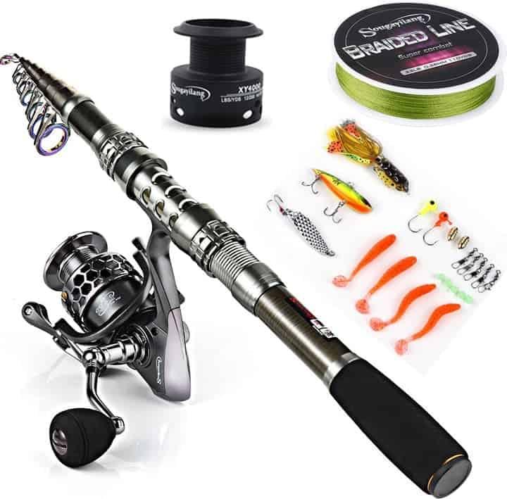 Sougayilang Fishing Rod Telescopic Fishing Rod Portable