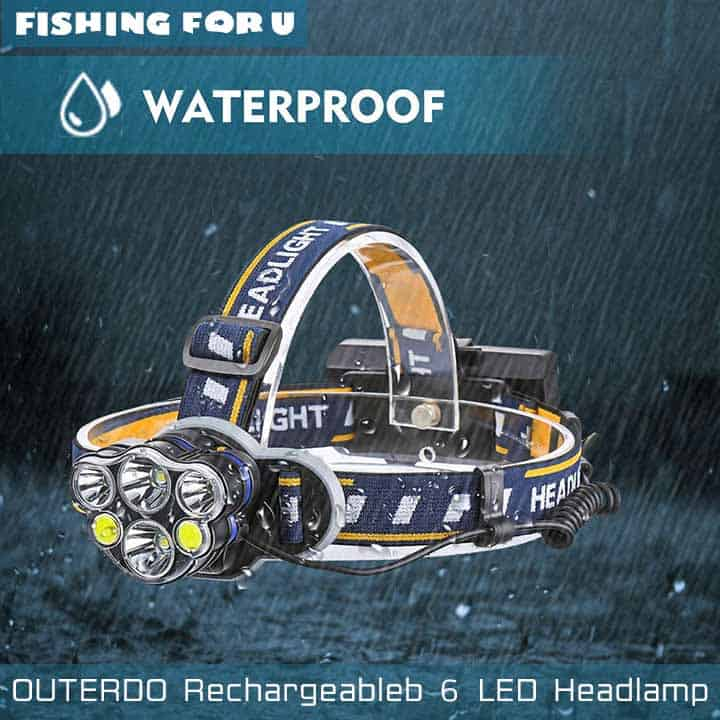 OUTERDO Rechargeable 6 LED Headlamp