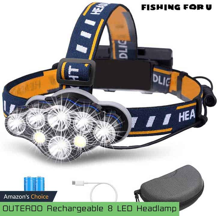 OUTERDO Rechargeable 8 LED Headlamp