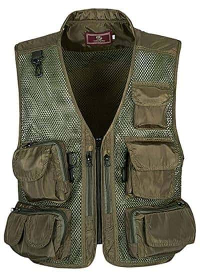 Flygo Zhusheng Men's Fishing Outdoor Utility Hunting Climbing Tactical Camo Mesh Removable Vest with Multiple Pockets