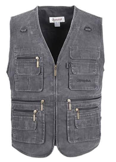 LUSI MADAM Men's Stone Washed Denim Multi-pocketed Fishing Work Outerwear Vest