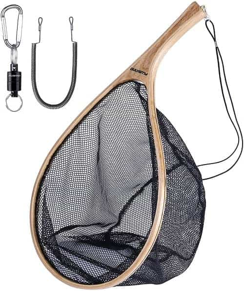 PLUSINNO Fly Fishing Net, Wooden Frame Fishing Landing Net with Magnetic Release