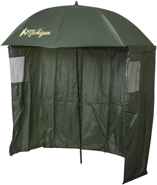 Michigan Fishing Umbrella with Top Tilt and Sides - Windows Brolly Shelter with FREE Carry Bag