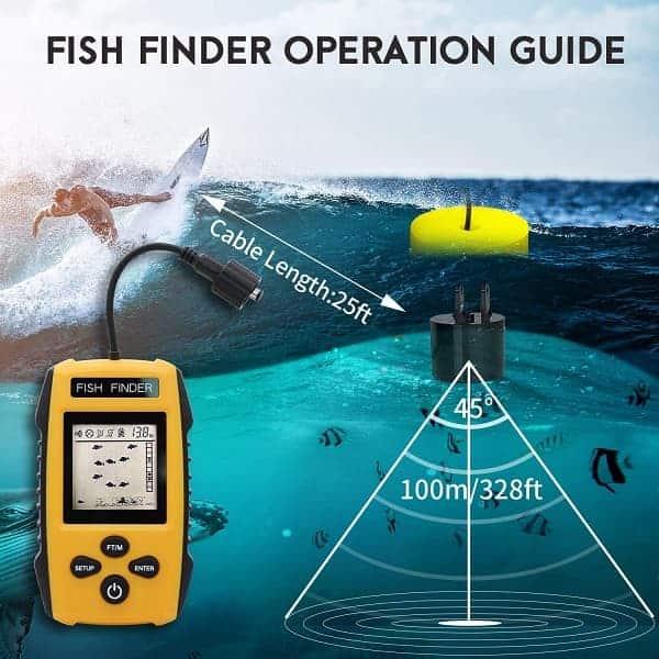 RICANK Portable Fish Finder, Contour Readout Handheld Fishfinder